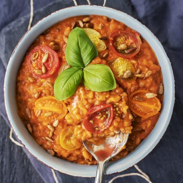 Tomaten-Risotto aus gekeimtem Reis